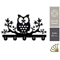 Night Owl Wall Wooden Hooks Indoor Use Key Holder, No Damage Wall Decoration Hanging Coats Bags Keys for Bedroom Kitchen Living Room