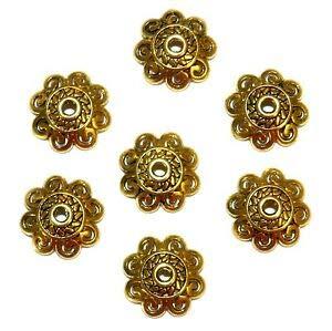 Steven_store ML5195 Antiqued Gold 12mm Open Scalloped Flower Metal Bead Caps 50pc Making Beading Beaded Necklaces Yoga Bracelets