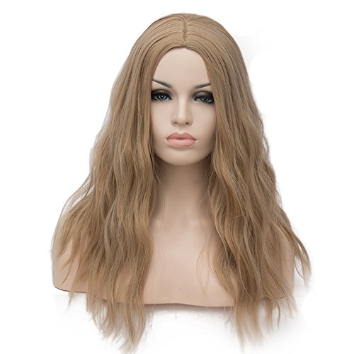 OneUstar Women's Long Wavy Wig Brown 18 inch Synthetic Cosplay Party Wig