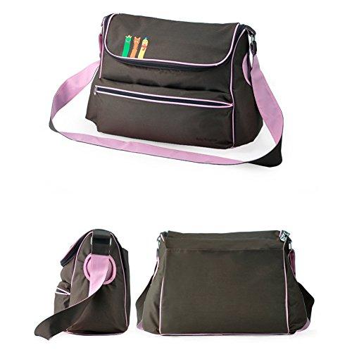 Moda Multifuncional Bolsa de Momia Sets Cambia Pañal de Bebé Saco de Pañales Bolso de Mensajero café