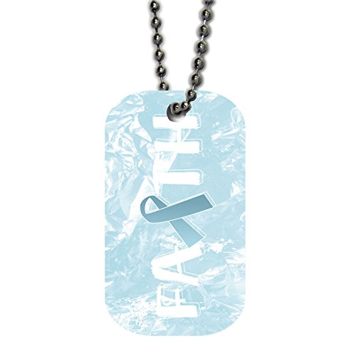 - BleuReign(TM) Prostate Cancer Awareness Faith Ribbon Single Sided Metal Military ID Dog Tag with Beaded Chain