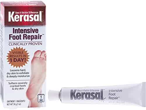 Kerasal Intensive Foot Repair, Exfoliating Foot Moisturizer 1 oz. - Clinically proven to moisturize and exfoliate dry feet and cracked heels - Smooth, soft feet fast with visible results in just 1 day