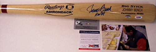 Johnny Bench Autographed Hand Signed Adirondack Pro Wood Baseball Bat - with HOF 89 Inscription - PSA/DNA (Autographed Bats Shop)