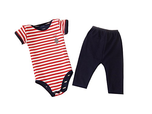 Bazooby Baby Girl and Baby Boy Reversible Onesies :: Unisex Newborn Bodysuite and Legging Set :: Baby Clothes Gift Set (0M-6M, Blue & White / Red & White)