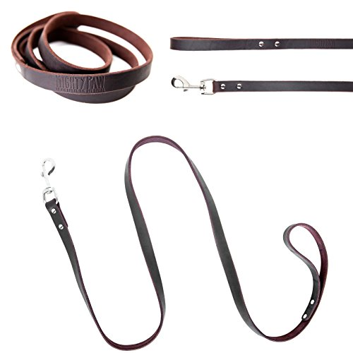 Mighty Paw Leather Dog Leash, Super Soft Distressed Leather- Premium Quality, Modern Stylish ()