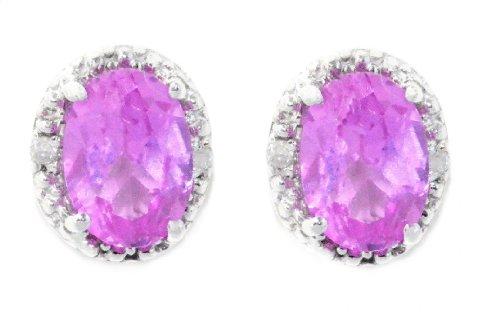 2 Ct Pink Sapphire Oval Diamond Stud Earrings .925 Sterling Silver Rhodium Fi...