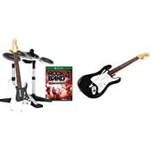 Rock Band 4 Band-in-a-Box Software Bundle for Xbox One - White & Mad Catz Rock Band 4 Wireless Fender Stratocaster Guitar Controller for Xbox One, Black - Black Edition