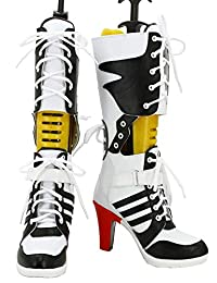GOTEDDY Harley Bottine Halloween Cosplay Clown Boots Middle Heels Leather Shoes