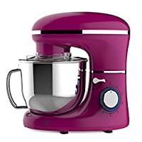 Heska -1500W Food Stand Mixer - 4-in-1 Beater/Whisk / Dough Hook/Flex Edge Beater - 5.5 Litre Mixing Bowl with Splash Guard (Pink)