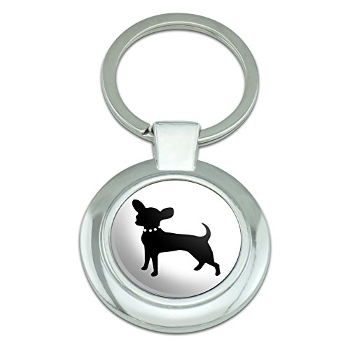 Graphics and More Chihuahua Classy Round Chrome Plated Metal Keychain (Chihuahua Keychain)