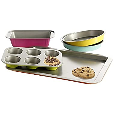 Gibson Home 92286.05 Color Splash Lyneham 5-Piece Carbon Steel Bakeware Set, Gray