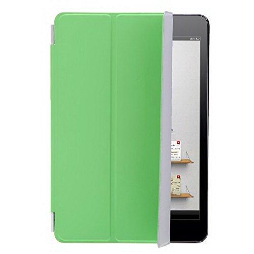 SODIAL(R) Cubierta caja inteligente delgada soporte cuero PU magnetico para Apple iPad Mini Tablet Dormir/ Despertar (Gris claro) Verde