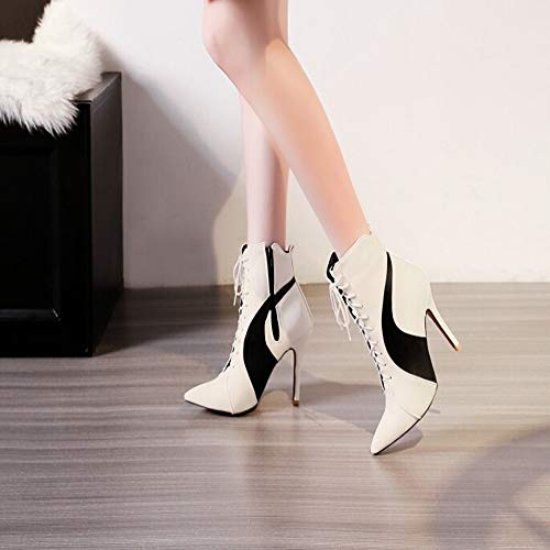 White High Womens Boots Spell Toe Shoes Pointed Thin Tied Color Short Heels Cross rx7gXwpxq