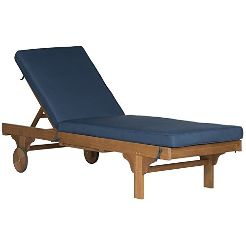Lounge Chaise Wheel Nautical (Safavieh Outdoor Collection Newport Teak Brown & Navy Chaise Lounge Chair with Side Table)