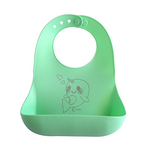Price comparison product image Waterproof dishwasher safe Silicone easily wipes clean baby bib! Comfortable soft stain resistant makes for easy clean up after meals for babies and toddlers! Cute Narwhal design! BPA free non-toxic