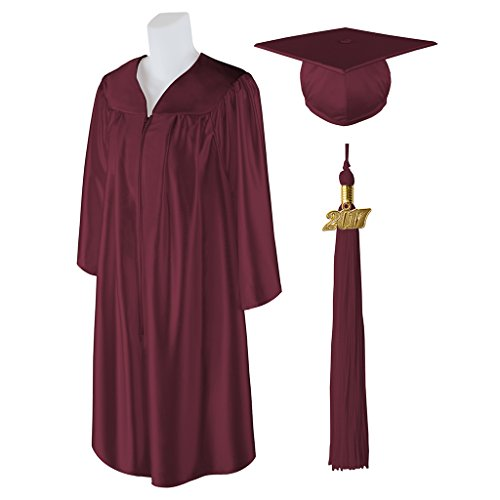 Standard Shiny Graduation Cap and Gown with Matching 2017 Tassel - BURGUNDY - Size 5'0