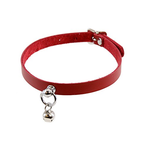 Pawstar Mini Kitty Bell Collar Leather Choker - Red +Size