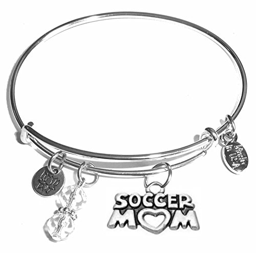Message Charm (46 words to choose from) Expandable Wire Bangle Bracelet, in the popular style, COMES IN A GIFT BOX! (Soccer Mom) (Soccer Mom Charm)