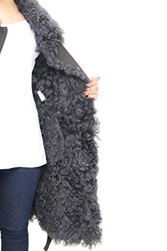 Abrigo Cuero Invierno Con Grande Gris De Oscuro Oveja Cuello Piel Se–oras Shearling Cintur—n Hz7qPUwEw
