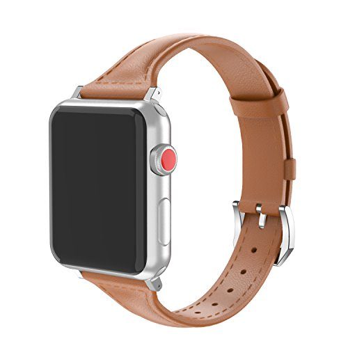 Wearlizer Compatible Apple Watch Genuine Leather Brown Band 38mm Womens Mens iWatch Slim Sport Strap Wristband Replacement Cool Bracelet Metal Stainless Steel Buckle Clasp,Series 3 2 1 Edition