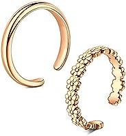 VCMART Stainless Steel Toe Rings for Women Girls Silver Open Rings Band Flower Tail Ring Adjustable Summer Bea