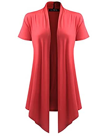 All You Women's Soft Drape Cardigan Short Sleeve Coral Small