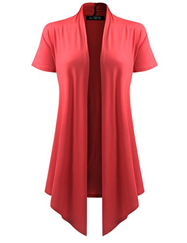 ALL FOR YOU Women's Soft Drape Cardigan Short Sleeve Coral X-Large