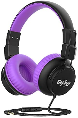 gorsun Kids Headphones, 85dB/94dB Volume Limited Children Headsets with in-LineMicRemote Control,Audio Sharing, Retractable Headband, Foldable, Students Headphones for School Home Travel(Purple)