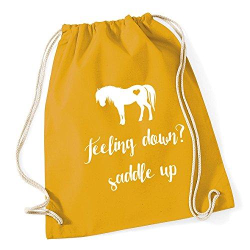 46cm 12 litres down Mustard Gym x Saddle Feeling Cotton Sack HippoWarehouse Up Bag Kid School Drawstring 37cm qx1SaUOB