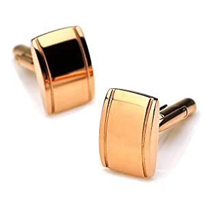PenSee Classic Business Wedding Stainless Steel Cufflinks for Men With Gift Box - Rose Gold-Square