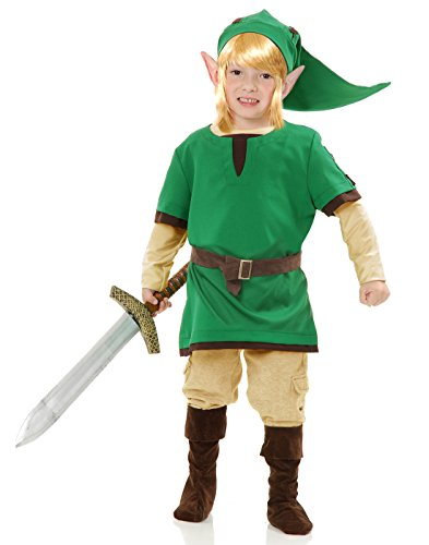 Charades Child's Elf Warrior Costume, Green, (Link Costume Amazon)