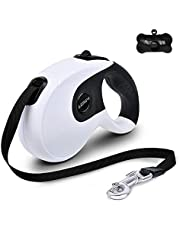 Extendable Dog Lead, Heavy Duty 360° Tangle-Free Pet Lead, 16 ft One Button Brake & Lock Dog Lead for Small Medium Dogs up to 111lbs, Comfortable Hand Grip, Dog Waste Dispensers & Bags Included (White)
