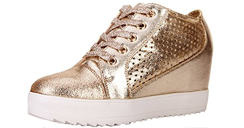 VECJUNIA Womens Concealed Wedge Lace-Up Flat Breathable Casual Trainers Gold2 4 mTzbSG0