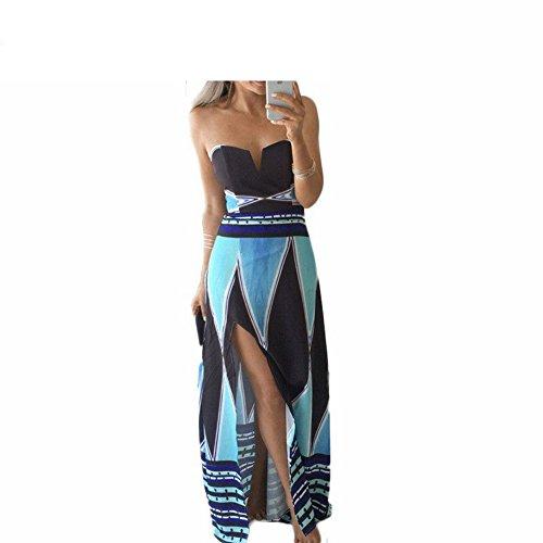 [FGHGYH Elegant strapless beach long maxi dress lace printed blue sexy sundress Blue XL] (Western Day Dress Up Ideas)