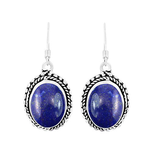 (Genuine Oval Shape Lapis Boho Style Dangle Earrings 925 Silver Plated Handmade Oxidized Finish Jewelry For Women Girls)