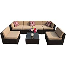 PATIOROMA 7pc Patio Conversation Set, Outdoor PE Wicker Rattan Sectional Furniture Sofa Set with Beige Seat and Back Cushions, Red Throw Pillows, Aluminum Frame, Espresso Brown