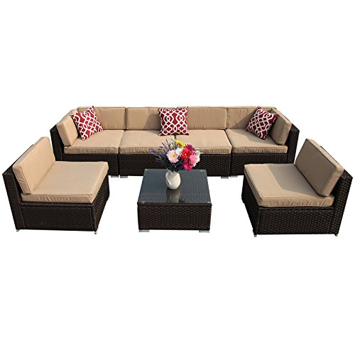 PATIOROMA 7pc Patio Conversation Set, Outdoor PE Wicker Rattan Sectional Furniture Sofa Set with Beige Seat and Back Cushions, Red Throw Pillows, Aluminum Frame, Espresso Brown (Modular Rattan Furniture)