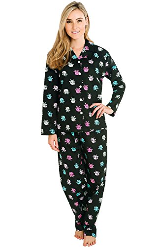 Del Rossa Womens Cotton Pajamas, Long Woven Pj Set, Medium Pink Pirate (A0517P84MD)
