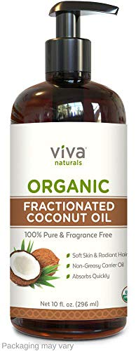 (Viva Naturals Organic Fractionated Coconut Oil - 100% Pure USDA Certified Massage Oil, Perfect Carrier for Essential Oils (10 oz))