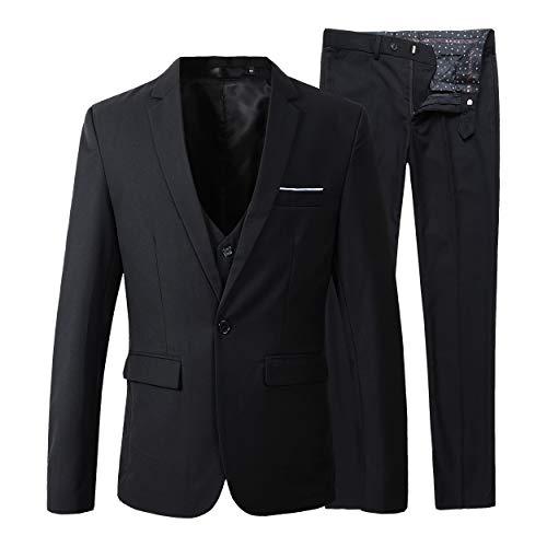 Beninos Men's Slim Fit Suit Blazer Jacket Tux Vest Pants 3 Pieces Suit Set (B305 Black, M)