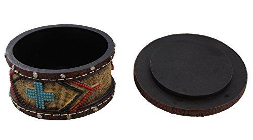 Decorative Southwestern Faux Stitched Leather Trinket / Jewelry Box