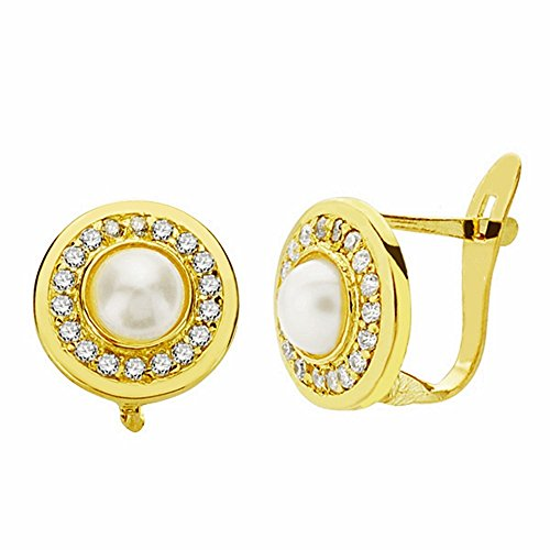 Boucled'oreille 18k 9mm perle d'or. zircons Leverback [AA2360]