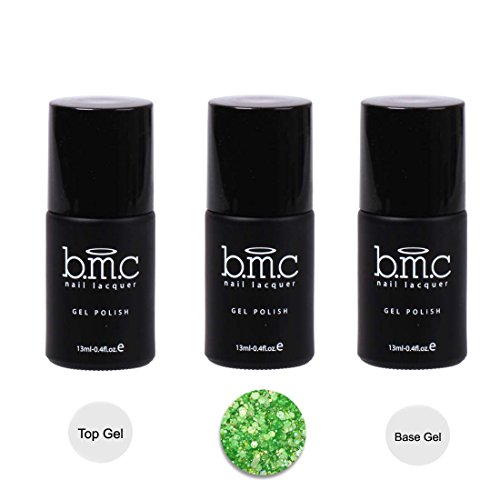 BMC 3pc Hexagon Shaped Glitter UV/LED Green Nail Lacquer Gel