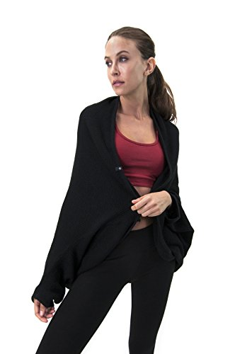 Satva Organic Cotton Relaxed Fit Textured Knit Cocoon Wrap, Black, Medium/Large