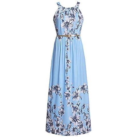 - 41ONWoG0ZnL - Women's Sleeveless Halter Neck Vintage Floral Print Maxi Dress