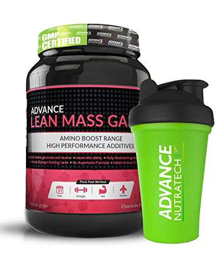 Advance Nutratech Lean Mass Gainer Supplement Powder - 2LBS (Double Rich Chocolate) (Free Shaker)