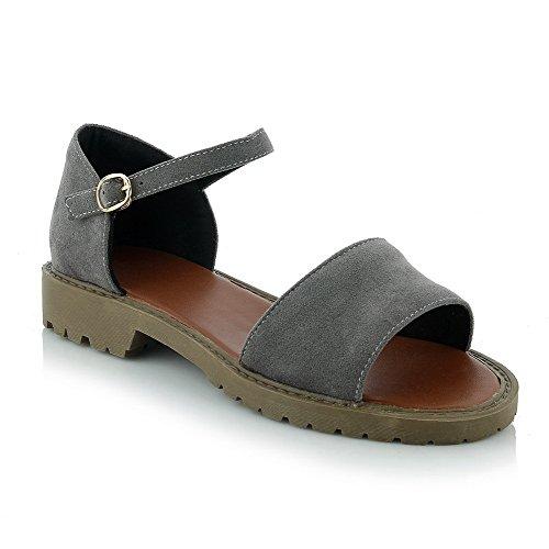 Amoonyfashion Para Mujer Imitado Gamuza Hebilla Sólida Open Toe Sandalias De Tacón Bajo Gris