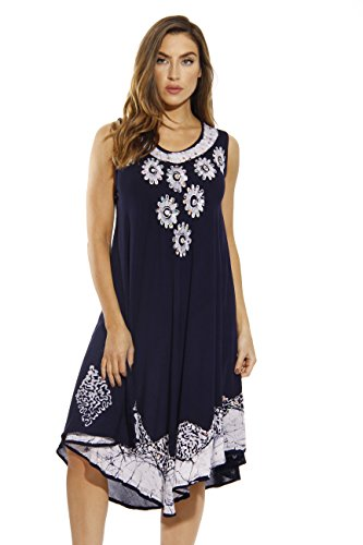 Batik Summer Dress (Riviera Sun Dress / Dresses for Women,Navy / White,Medium)