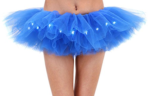 Adult's LED Light Up 5 Layered Tulle Tutu Mini Skirt, Royal Blue