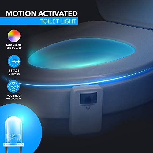 LumiLux Advanced 16-Color Motion Sensor LED Toilet Bowl Night, Internal Memory, Light Detection, Stocking Stuffer, White by LumiLux (Image #3)'